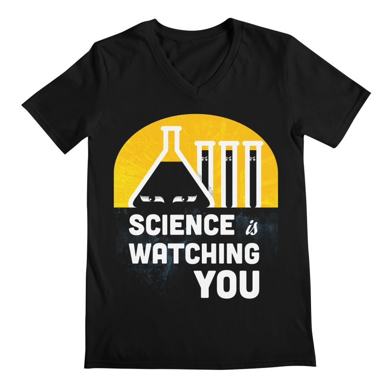 Science is Watching You Men's V-Neck by mj's Artist Shop