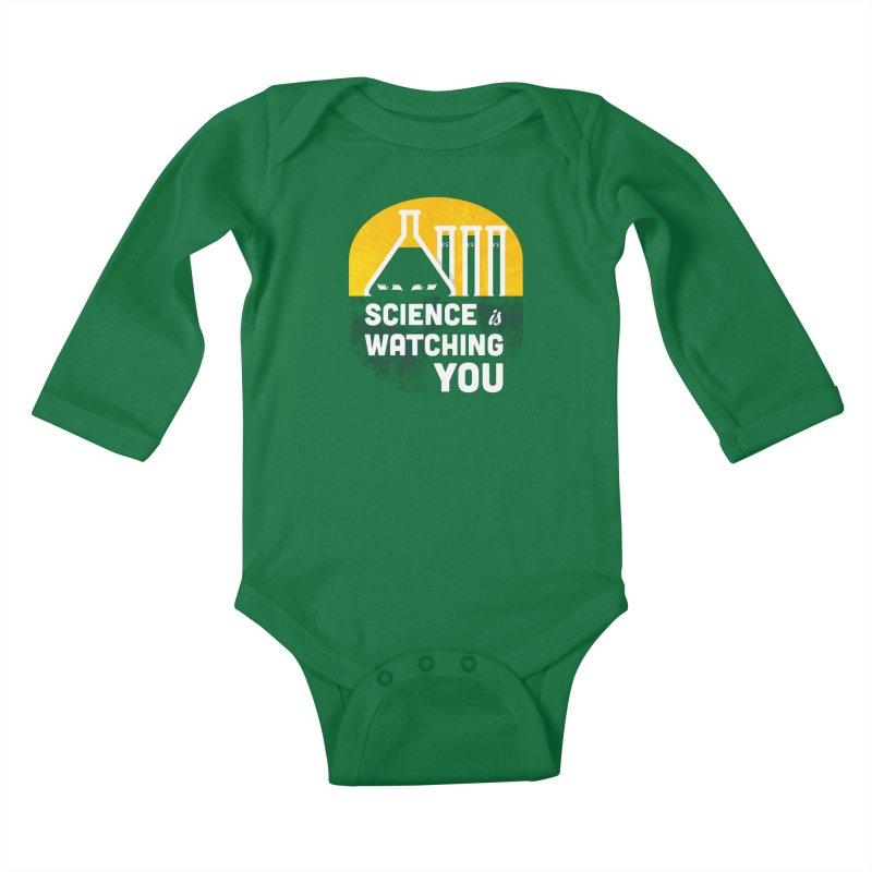 Science is Watching You Kids Baby Longsleeve Bodysuit by mj's Artist Shop