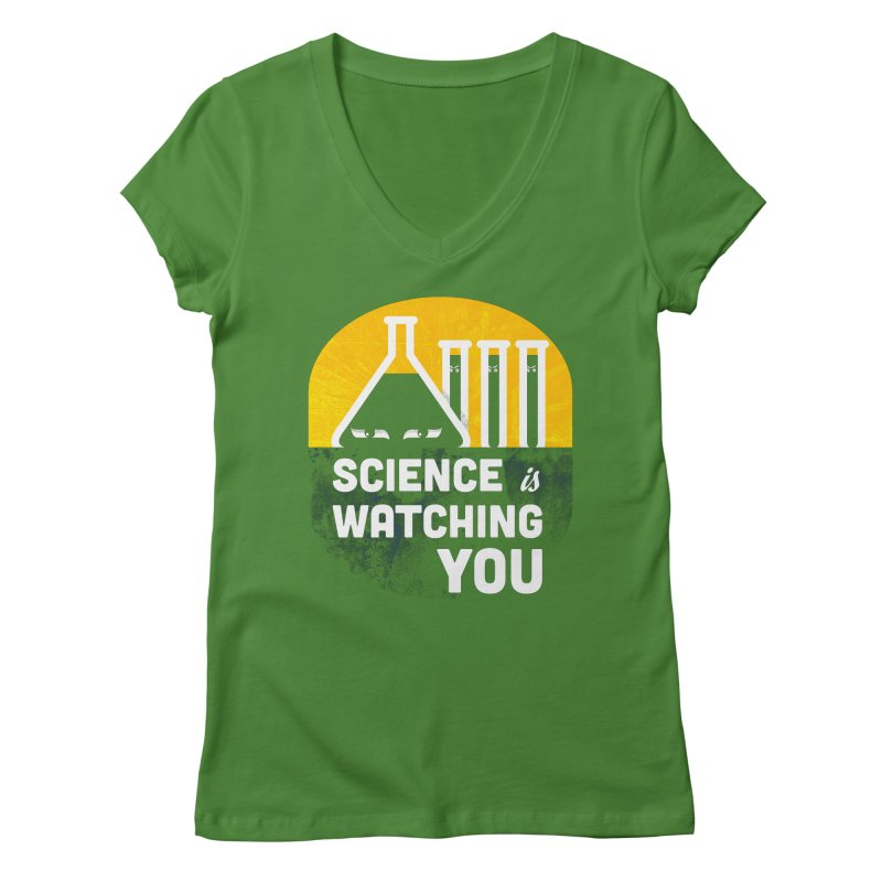 Science is Watching You Women's Regular V-Neck by mj's Artist Shop
