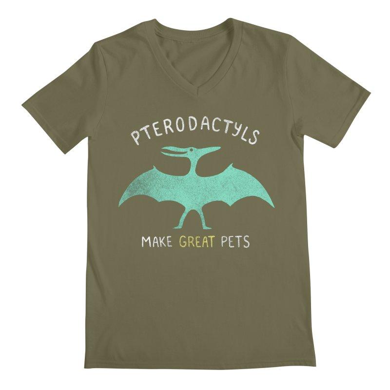 Pterodactyls Make Great Pets Men's V-Neck by mj's Artist Shop