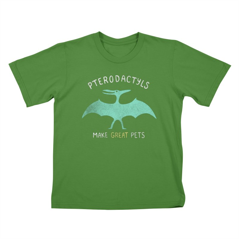 Pterodactyls Make Great Pets Kids T-shirt by mj's Artist Shop