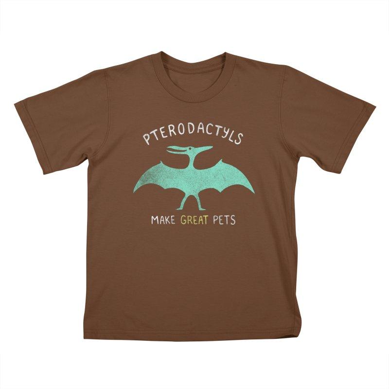 Pterodactyls Make Great Pets Kids T-Shirt by mj's Artist Shop