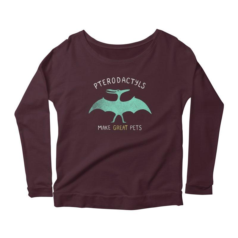 Pterodactyls Make Great Pets Women's Scoop Neck Longsleeve T-Shirt by mj's Artist Shop