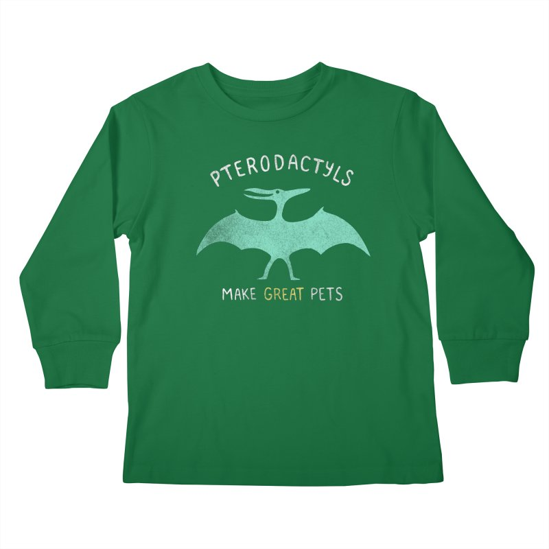 Pterodactyls Make Great Pets Kids Longsleeve T-Shirt by mj's Artist Shop