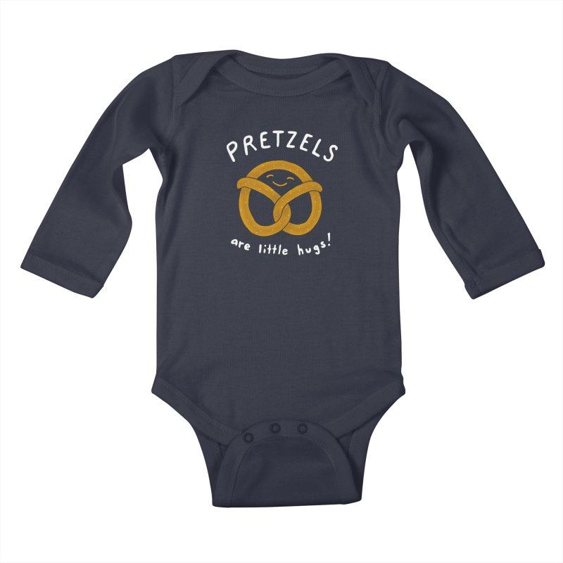 Pretzels are Little Hugs Kids Baby Longsleeve Bodysuit by mj's Artist Shop