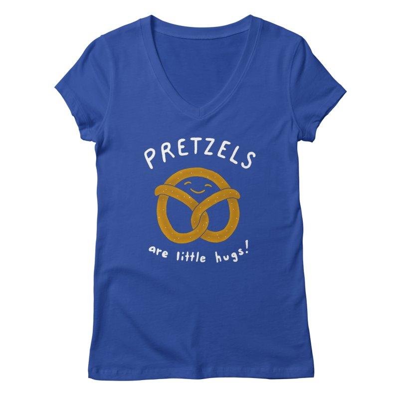 Pretzels are Little Hugs Women's V-Neck by mj's Artist Shop