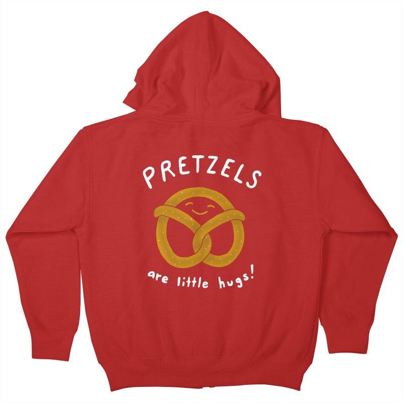 Pretzels are Little Hugs Kids Zip-Up Hoody by mj's Artist Shop