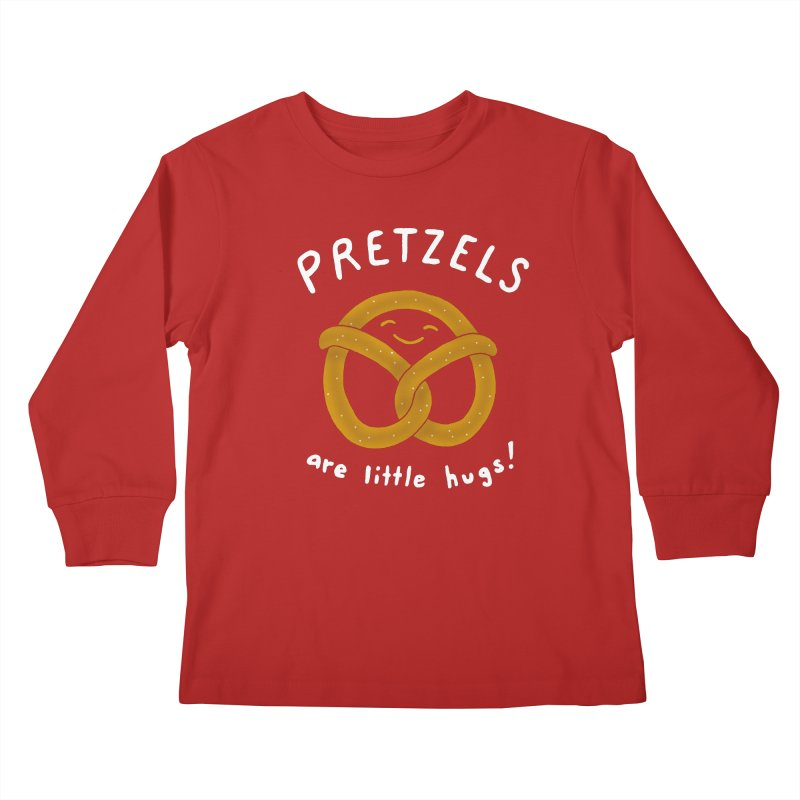 Pretzels are Little Hugs Kids Longsleeve T-Shirt by mj's Artist Shop
