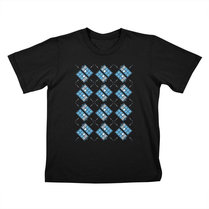 Gallifrey Argyle Kids T-Shirt by mj's Artist Shop