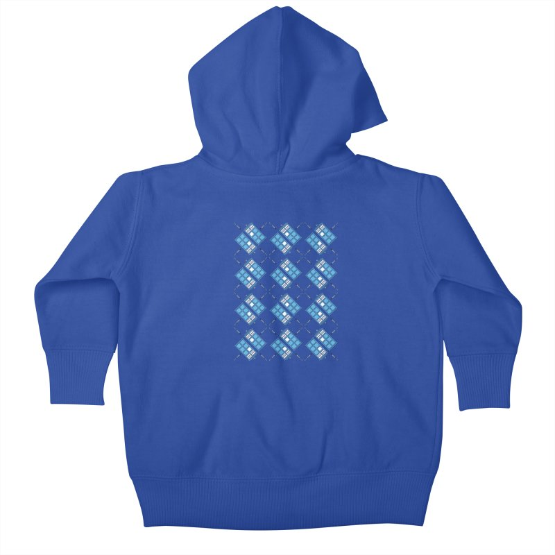 Gallifrey Argyle Kids Baby Zip-Up Hoody by mj's Artist Shop