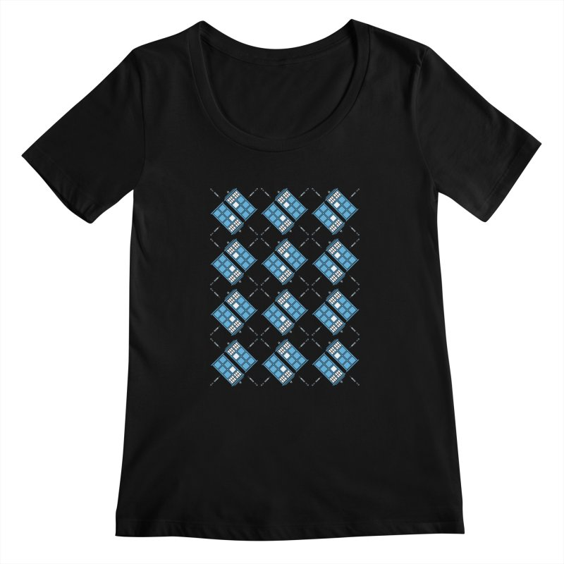 Gallifrey Argyle Women's Scoopneck by mj's Artist Shop