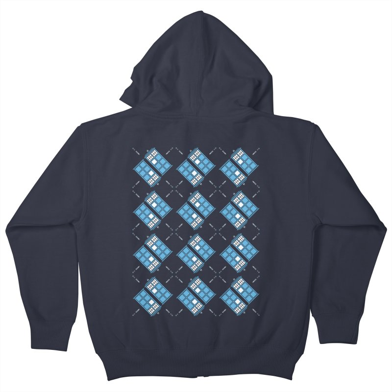 Gallifrey Argyle Kids Zip-Up Hoody by mj's Artist Shop