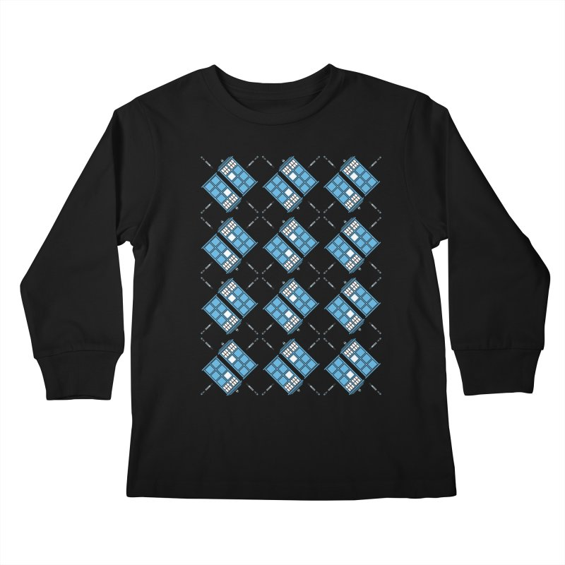 Gallifrey Argyle Kids Longsleeve T-Shirt by mj's Artist Shop