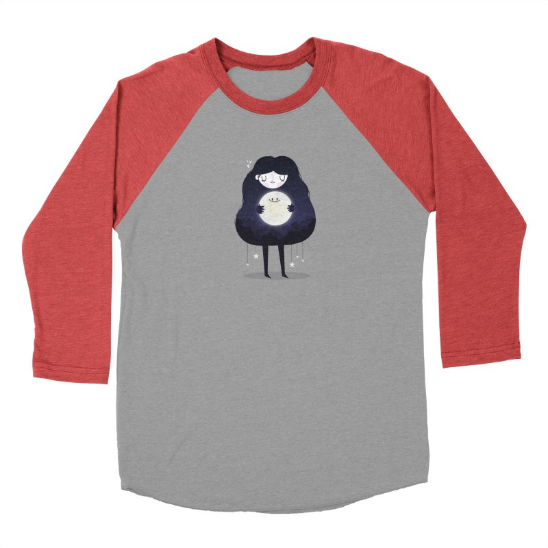 Hug the moon Women's Baseball Triblend T-Shirt by Maria Jose Da Luz