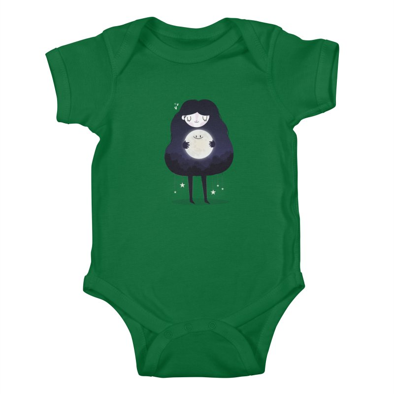 Hug the moon Kids Baby Bodysuit by Maria Jose Da Luz
