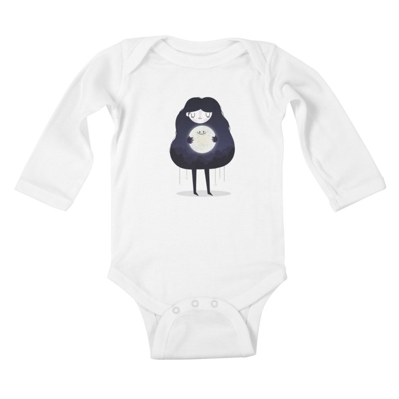 Hug the moon Kids Baby Longsleeve Bodysuit by Maria Jose Da Luz