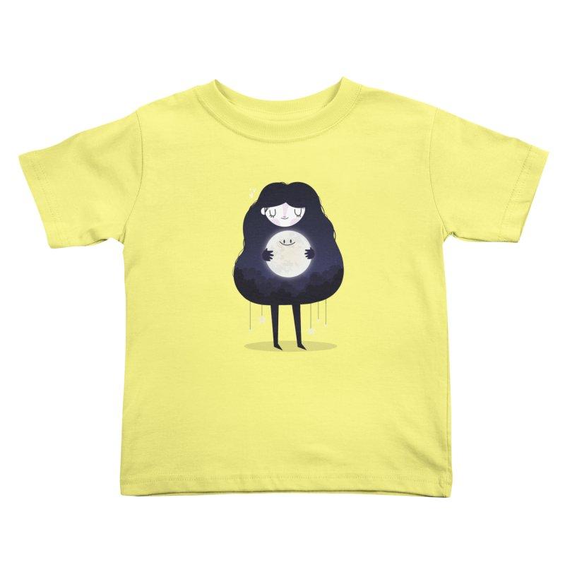 Hug the moon Kids Toddler T-Shirt by Maria Jose Da Luz