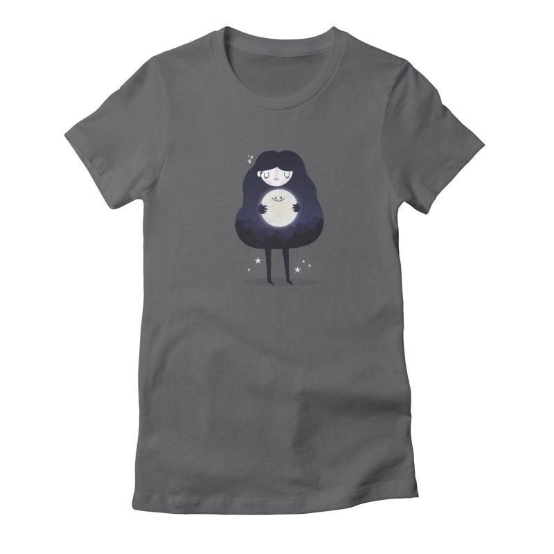 Hug the moon Women's Fitted T-Shirt by Maria Jose Da Luz