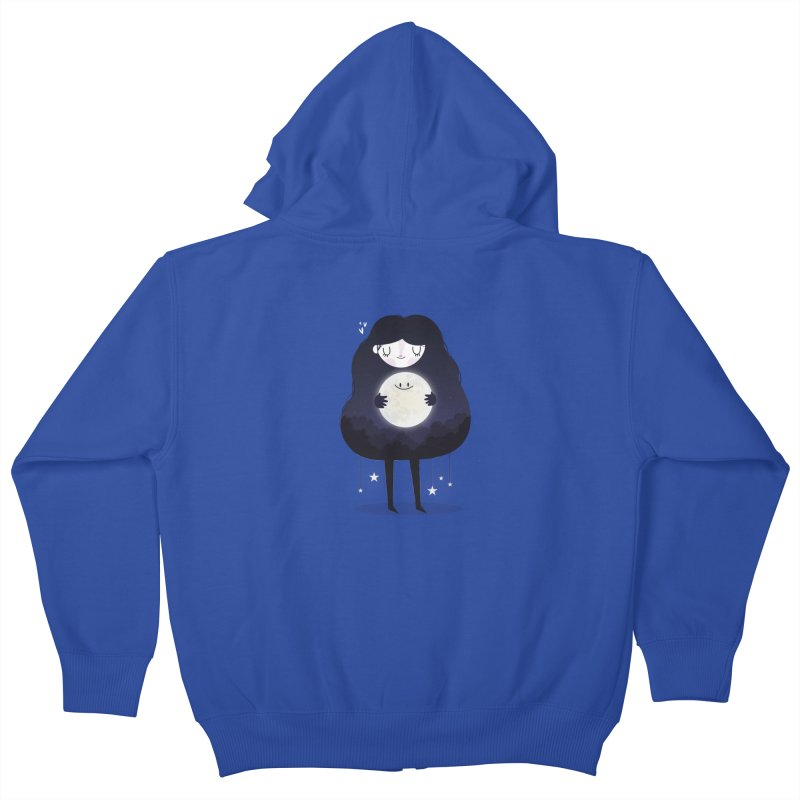 Hug the moon Kids Zip-Up Hoody by Maria Jose Da Luz