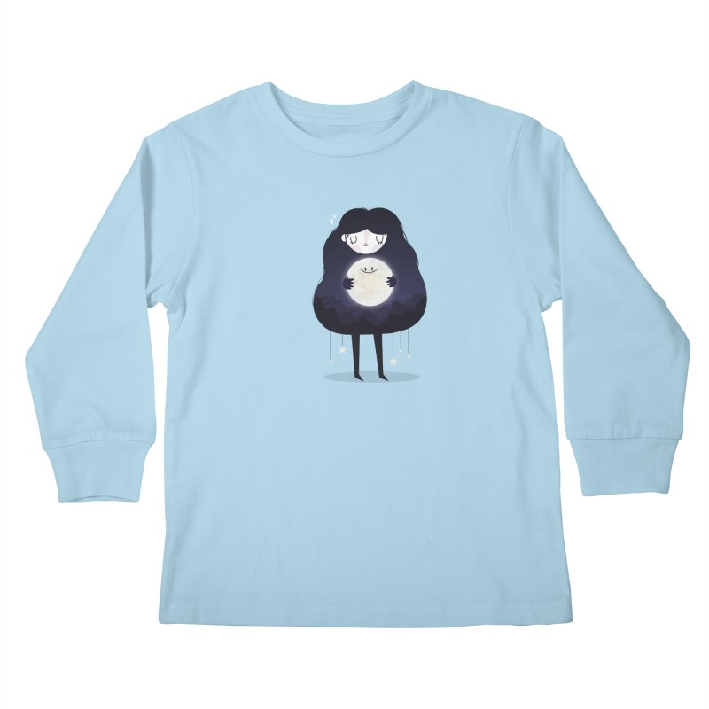 Hug the moon Kids Longsleeve T-Shirt by Maria Jose Da Luz