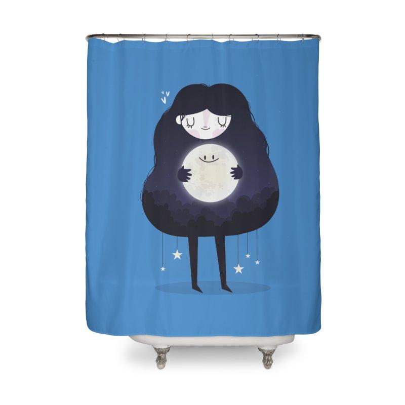 Hug the moon Home Shower Curtain by Maria Jose Da Luz