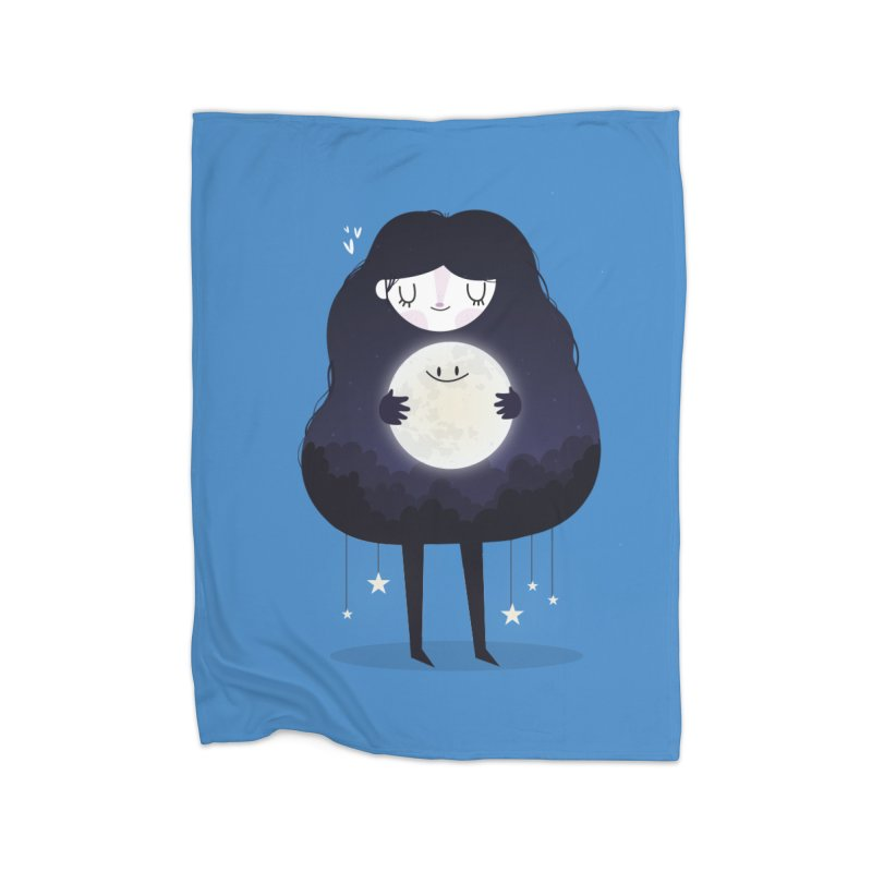 Hug the moon Home Blanket by Maria Jose Da Luz