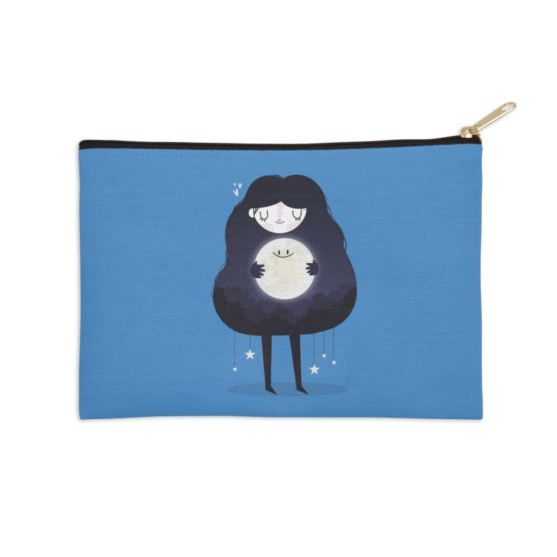Hug the moon Accessories Zip Pouch by Maria Jose Da Luz