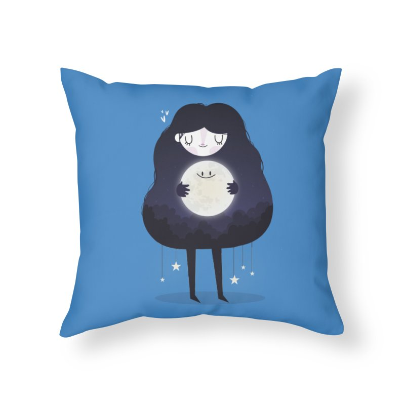 Hug the moon Home Throw Pillow by Maria Jose Da Luz