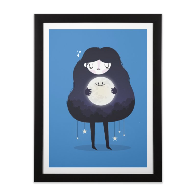Hug the moon Home Framed Fine Art Print by Maria Jose Da Luz