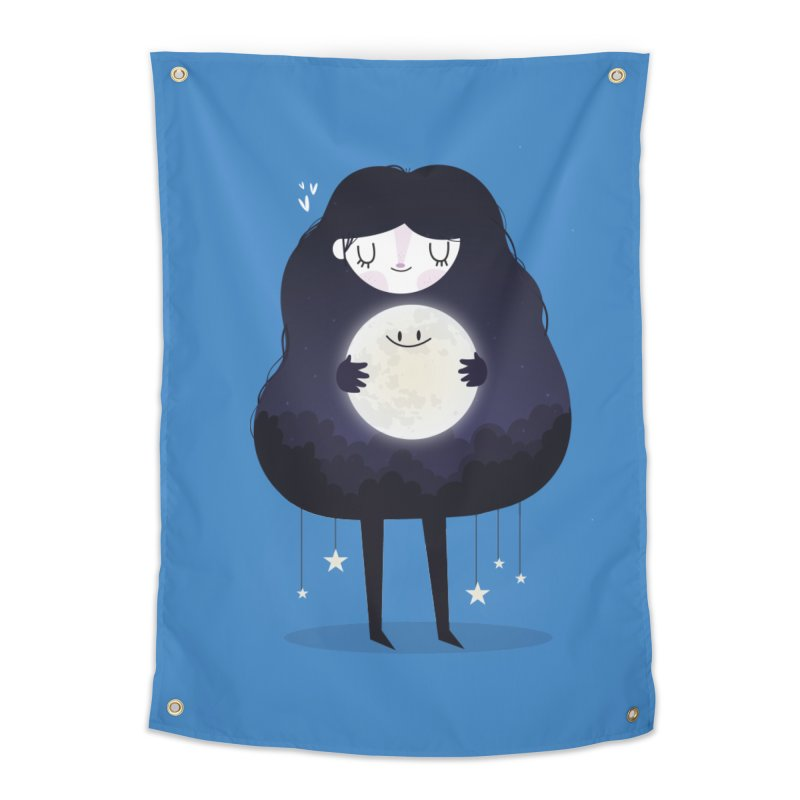 Hug the moon Home Tapestry by Maria Jose Da Luz