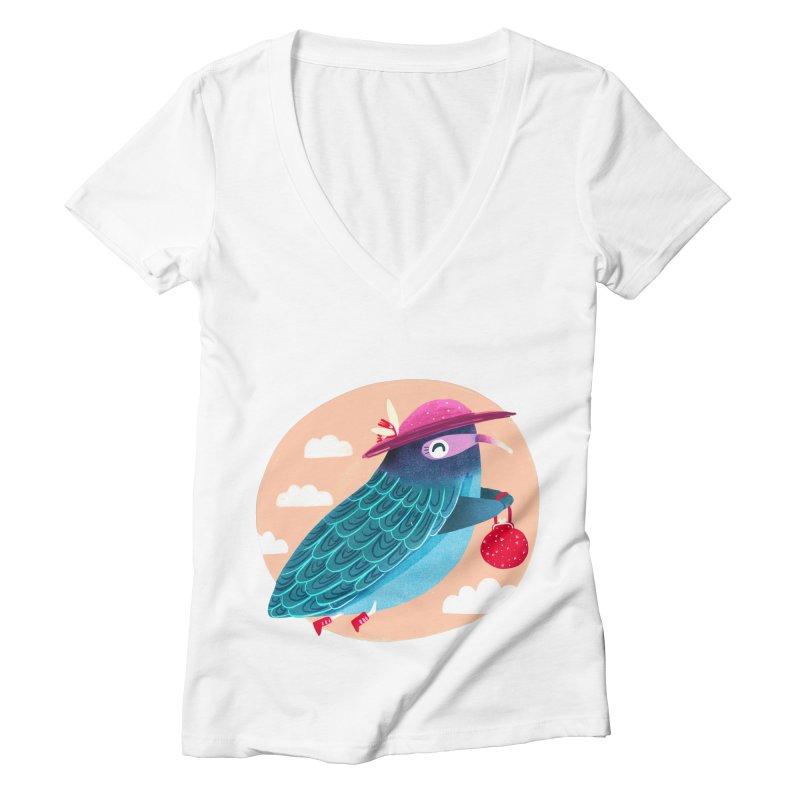 Ms.pigeon Women's V-Neck by Maria Jose Da Luz