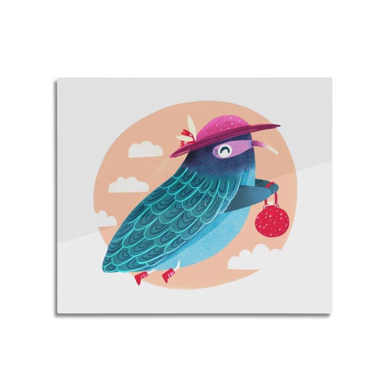 Ms.pigeon Home Mounted Aluminum Print by Maria Jose Da Luz