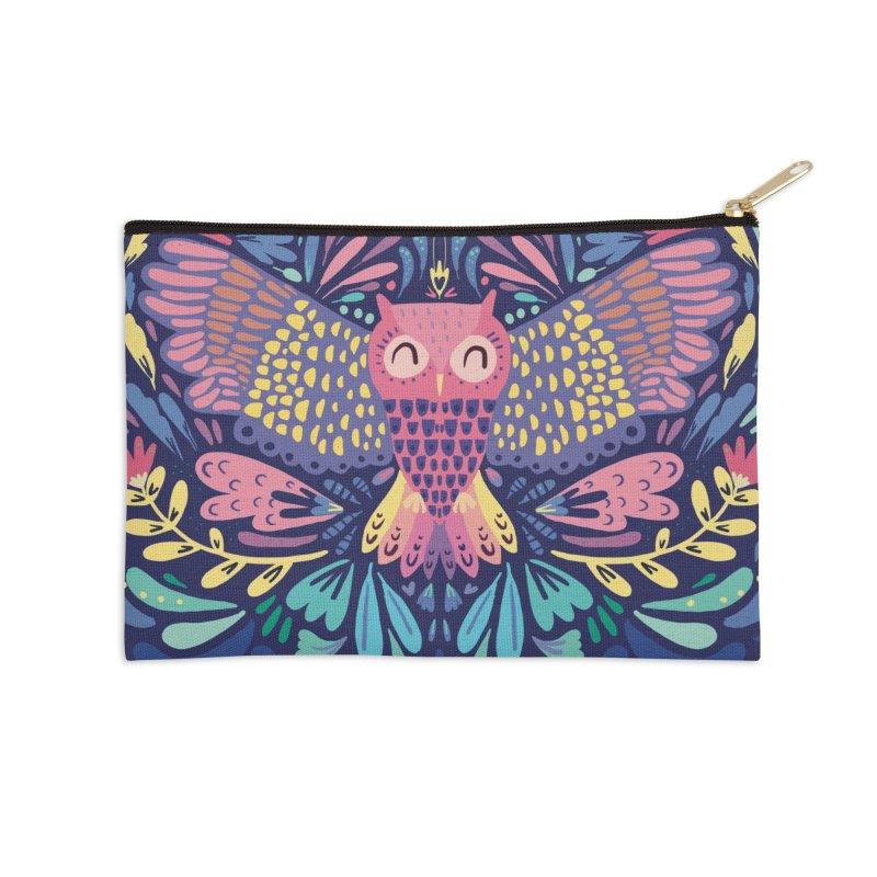 Owl Accessories Zip Pouch by Maria Jose Da Luz