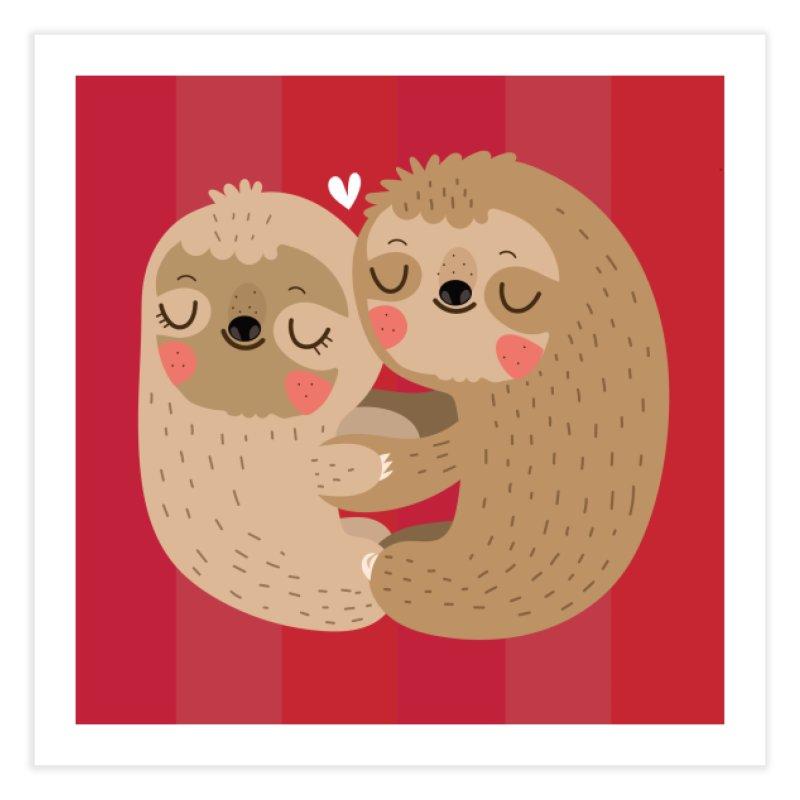 Sloth love Home Fine Art Print by Maria Jose Da Luz