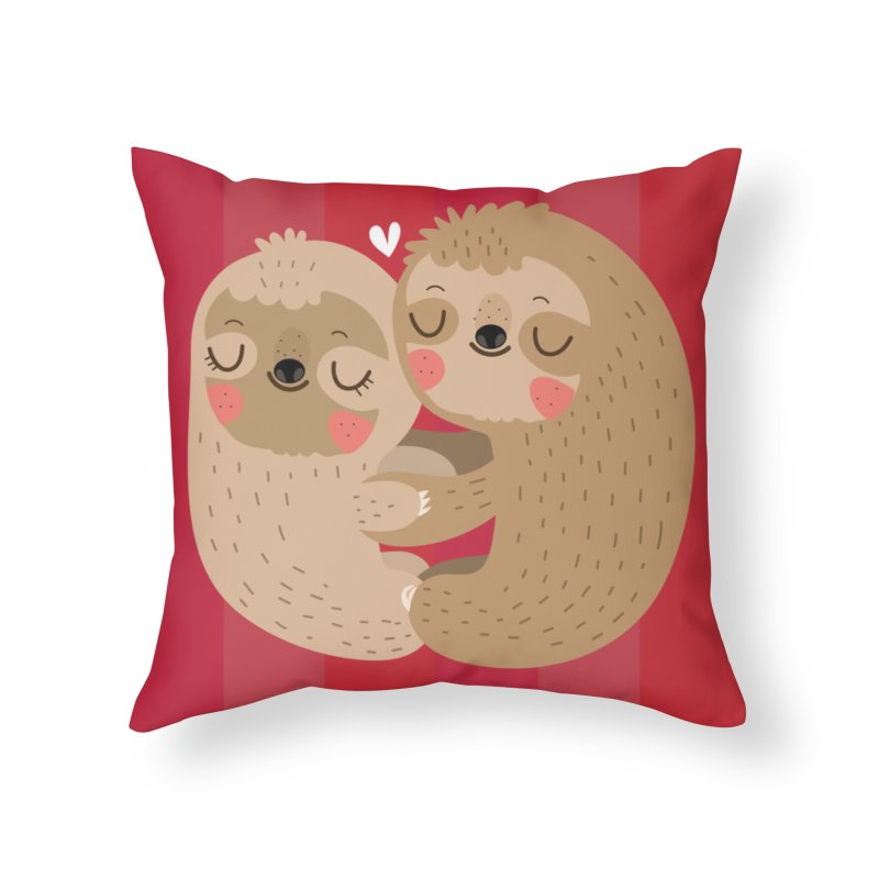 Sloth love Home Throw Pillow by Maria Jose Da Luz