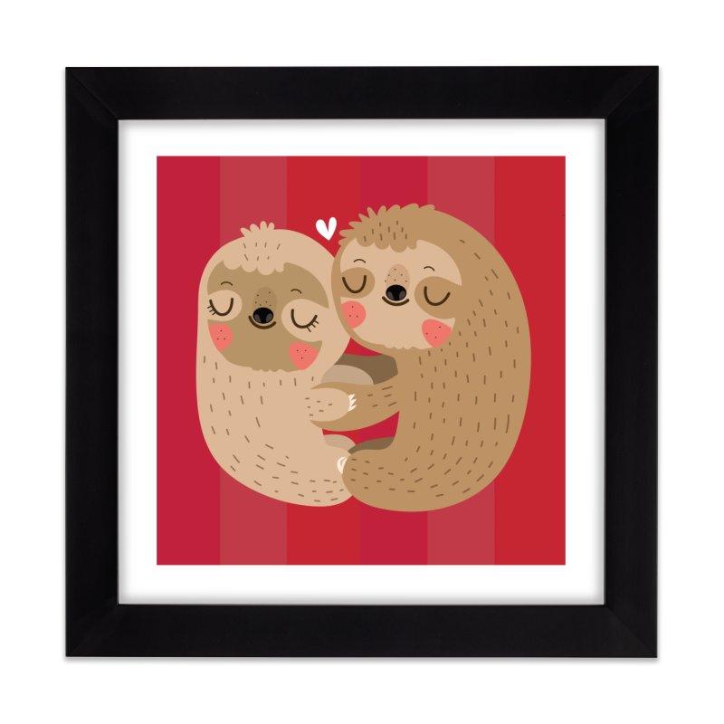 Sloth love Home Framed Fine Art Print by Maria Jose Da Luz