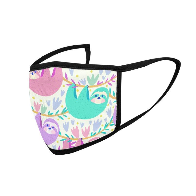 Pastel sloth pattern Accessories Face Mask by Maria Jose Da Luz