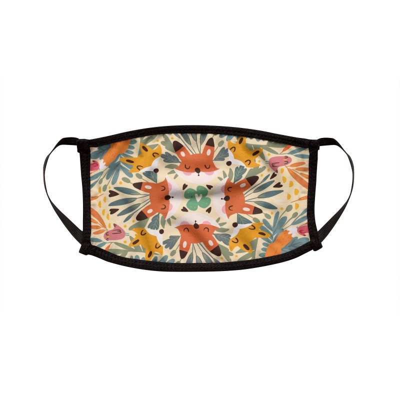 Foxes and flowers Accessories Face Mask by Maria Jose Da Luz