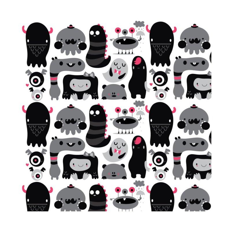 Black and white monsters Accessories Bag by Maria Jose Da Luz