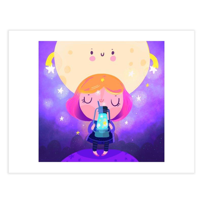 Magic moon Home Fine Art Print by Maria Jose Da Luz