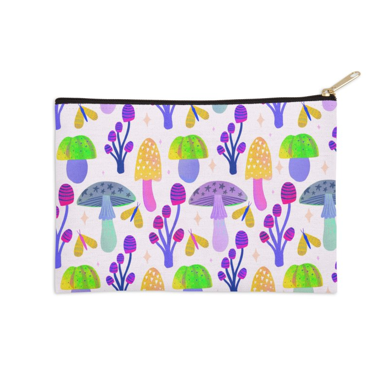 Mushroom pattern light Accessories Zip Pouch by Maria Jose Da Luz