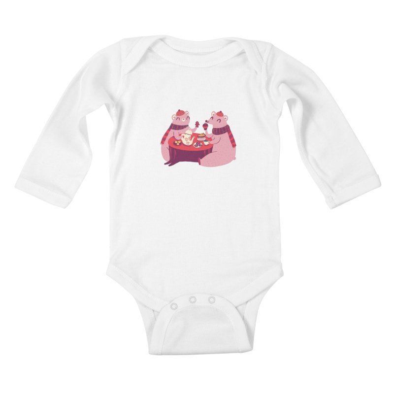Beary hungry Kids Baby Longsleeve Bodysuit by Maria Jose Da Luz