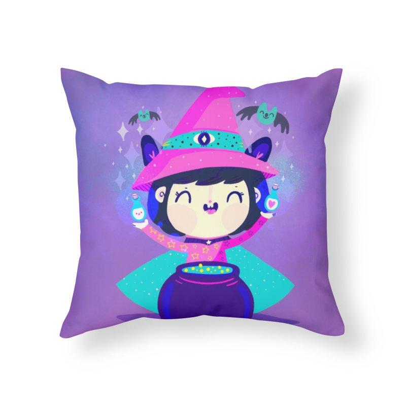 Little witch Home Throw Pillow by Maria Jose Da Luz