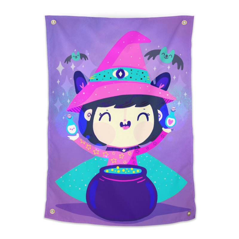 Little witch Home Tapestry by Maria Jose Da Luz