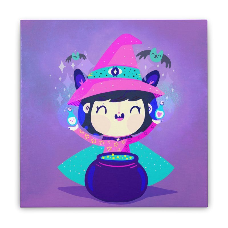 Little witch Home Stretched Canvas by Maria Jose Da Luz