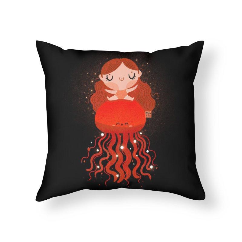 Jellyfish Home Throw Pillow by Maria Jose Da Luz