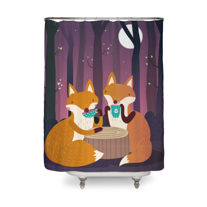 Night Tea time Home Shower Curtain by Maria Jose Da Luz