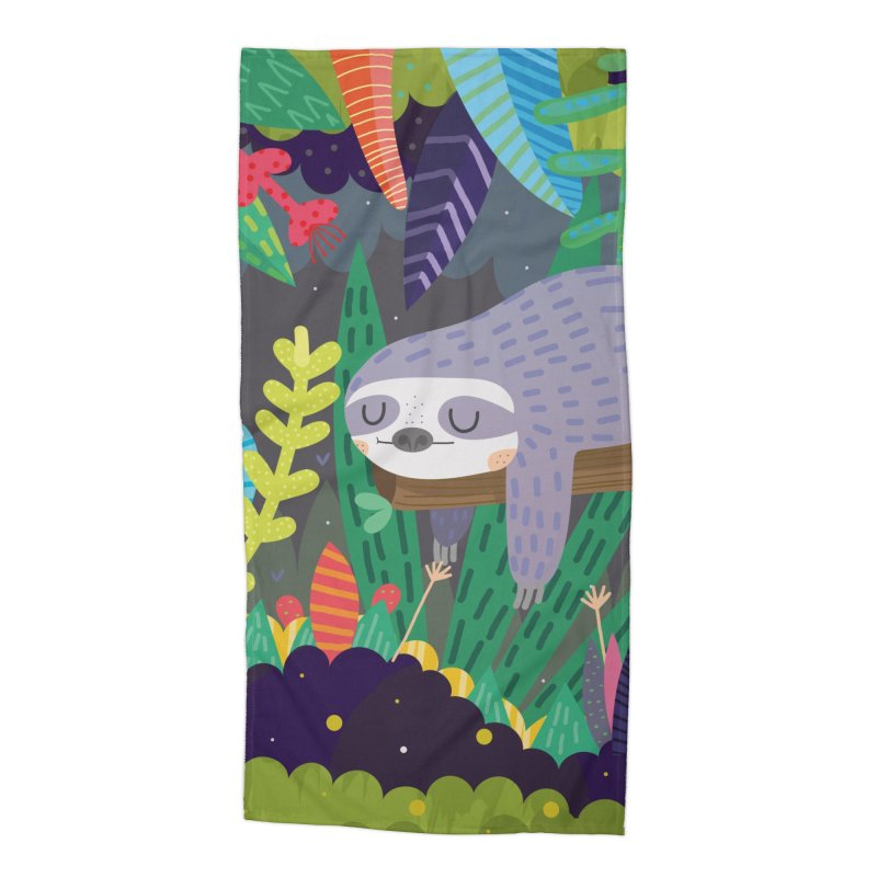 Sloth in nature Accessories Beach Towel by Maria Jose Da Luz