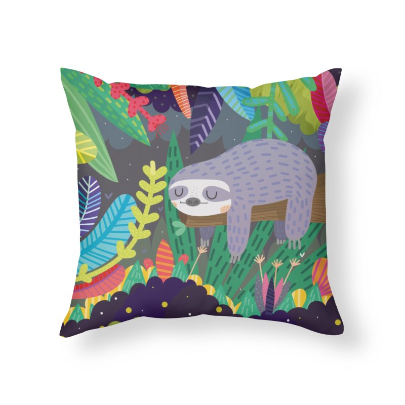 Sloth in nature Home Throw Pillow by Maria Jose Da Luz