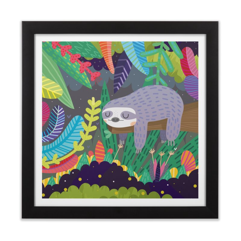 Sloth in nature Home Framed Fine Art Print by Maria Jose Da Luz